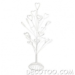 1 portant centre de table 21 branches coeurs - Blanc