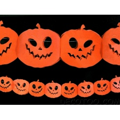 1 guirlande 4 m citrouilles Halloween - Orange