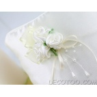 1 coussin d'alliances perles et bouquet satin - Blanc