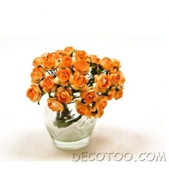 36 mini roses artificielles sur tige - Orange