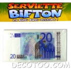10 serviettes de table Billet de 20 €