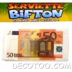 10 serviettes de table billet de 50 €