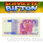10 serviettes de table billet de 500 €