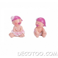 "2 figurines assorties "" bébé fille "" - Rose"