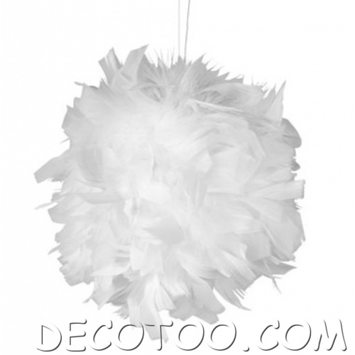 1 boule suspendre plumes blanches - Suspension plumes blanches ...