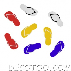 confettis tongs multicouleurs