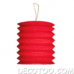 1 grand lampion cylindrique rouge