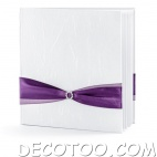1 livre d'or blanc noeud satin prune
