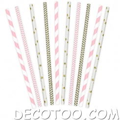 10 pailles Candy bar mixte rose et or