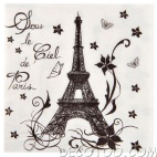 20 serviettes de table Paris - Blanc