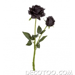 1 grande rose artificielle - Noir