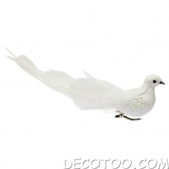 1 colombe plumes et perles - Blanc