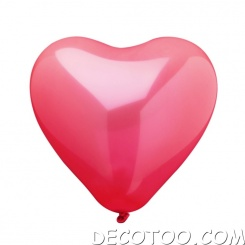10 ballons coeur - Rouge