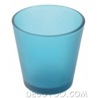 1 bougeoir verre turquoise