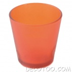 1 bougeoir verre orange